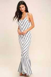 PPLA Delilah Blue and White Striped Maxi Dress at Lulus.com!