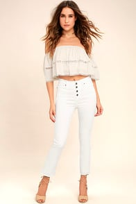 Moon River Uncharted White Distressed Jeans at Lulus.com!