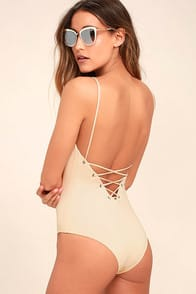 Tavik Monahan Beige Lace-Up One Piece Swimsuit at Lulus.com!