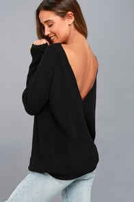 Just For You Black Backless Sweater at Lulus.com!
