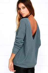 Just For You Slate Blue Backless Sweater at Lulus.com!