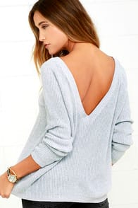 Just For You Light Grey Backless Sweater at Lulus.com!