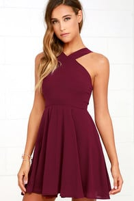 Forevermore Burgundy Skater Dress at Lulus.com!
