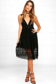 Absolutely Fabulous Black Lace Midi Dress at Lulus.com!