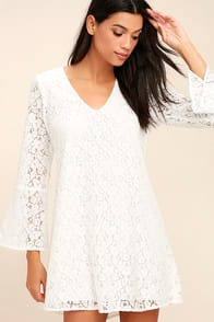 Lucy Love Wild Child White Lace Long Sleeve Dress at Lulus.com!