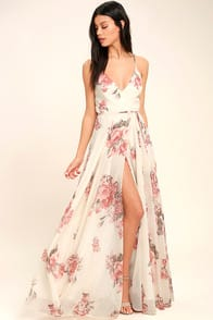 Elegantly Inclined Cream Floral Print Wrap Maxi Dress at Lulus.com!