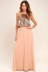 Wow Factor Rose Gold Sequin Two-Piece Maxi Dress at Lulus.com!