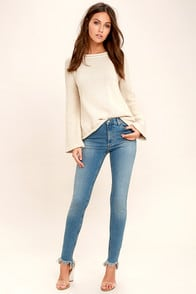 Cheap Monday Second Skin Distressed Light Wash Skinny Jeans at Lulus.com!