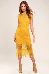 Moon River Cultivator Mustard Yellow Lace Midi Dress at Lulus.com!