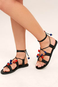 MADDEN GIRL BALIEE BLACK LACE-UP POMPOM SANDALS at Lulus.com!