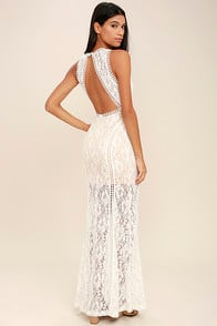 BETTER WITH YOU IVORY LACE MAXI DRESS at Lulus.com!
