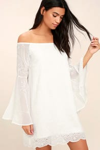 Sway My Way White Embroidered Off-the-Shoulder Dress at Lulus.com!