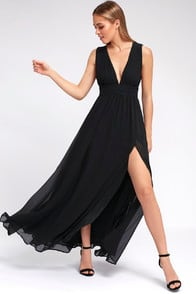 HEAVENLY HUES BLACK MAXI DRESS at Lulus.com!