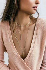 SLEEK PEEK GOLD LAYERED CHOKER NECKLACE at Lulus.com!