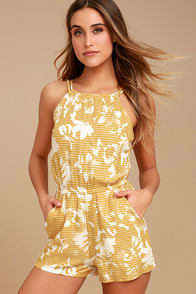 RVCA Hot Water Yellow Print Romper at Lulus.com!