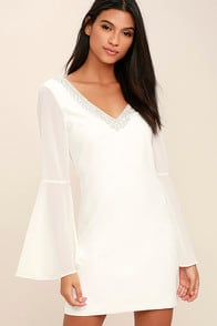 Leave the Light On White Beaded Long Sleeve Dress at Lulus.com!