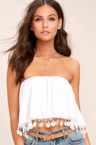 In No Time White Strapless Crop Top at Lulus.com!