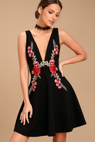 ROMANTIC ROSE BLACK EMBROIDERED SKATER DRESS at Lulus.com!