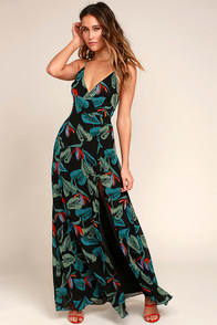 Birds of Paradise Black Floral Print Maxi Dress at Lulus.com!