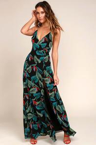 Birds of Paradise Black Floral Print Maxi Dress at Lulus.com!