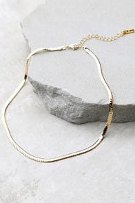 JUST BELIEVE GOLD CHAIN CHOKER NECKLACE at Lulus.com!