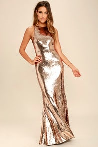 Notorious Rose Gold Sequin Maxi Dress at Lulus.com!