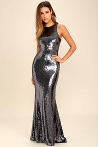 Notorious Pewter Sequin Maxi Dress at Lulus.com!
