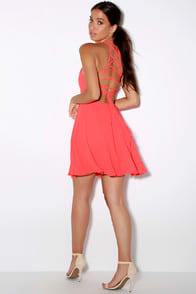 Good Deeds Coral Pink Lace-Up Dress at Lulus.com!