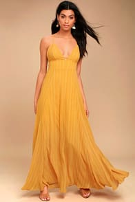 Elevate Mustard Yellow Embroidered Maxi Dress at Lulus.com!