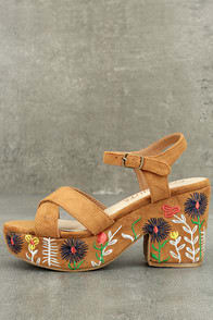 Coconuts Fresh Tan Suede Embroidered Platform Sandals at Lulus.com!