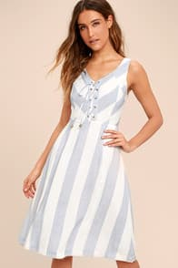 MARTHA'S VINEYARD BLUE AND WHITE STRIPED LACE-UP MIDI DRESS at Lulus.com!