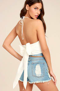 Something Good White Crop Top at Lulus.com!