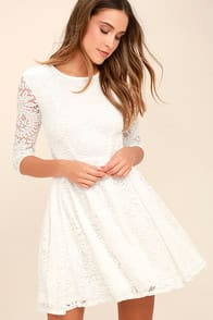 It's a New Day White Lace Skater Dress at Lulus.com!