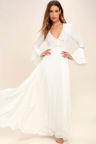 ENCHANTED EVENING WHITE LACE MAXI DRESS at Lulus.com!