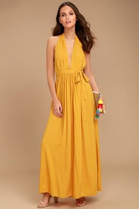 Magical Movement Mustard Yellow Wrap Maxi Dress at Lulus.com!