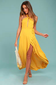 Marisha Golden Yellow Halter Wrap Dress at Lulus.com!