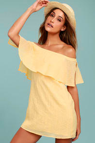 Hello Sunshine Yellow Off-the-Shoulder Dress at Lulus.com!