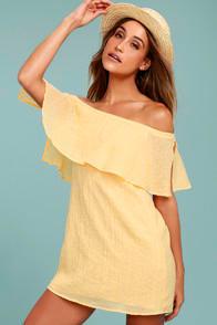 Hello Sunshine Yellow Off-the-Shoulder Dress at Lulus.com!
