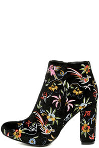 QUETZAL BLACK VELVET EMBROIDERED ANKLE BOOTIES at Lulus.com!