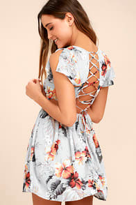 La Brea Grey Floral Print Backless Lace-Up Dress at Lulus.com!