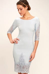 MIDNIGHT GARDEN BLUE GREY LACE BODYCON DRESS at Lulus.com!