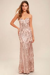 Rebecca Rose Gold Strapless Sequin Maxi Dress at Lulus.com!
