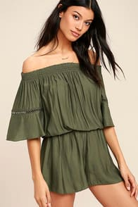WITH FEELING OLIVE GREEN OFF-THE-SHOULDER ROMPER at Lulus.com!