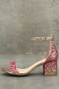 Sorcha Blush Glitter Ankle Strap Heels at Lulus.com!