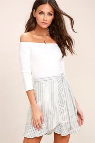 Walk on Air Blue and White Striped Wrap Mini Skirt at Lulus.com!