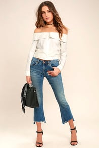 Blank NYC Kick Flare Medium Wash Distressed Jeans at Lulus.com!