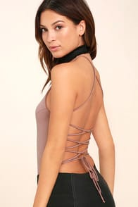YVONNE MAUVE LACE-UP BODYSUIT at Lulus.com!
