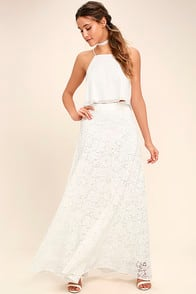 Love at First Sight White Lace Two-Piece Maxi Dress at Lulus.com!