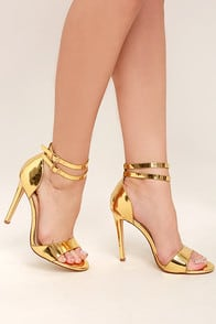 Jacinda Gold Ankle Strap Heels at Lulus.com!