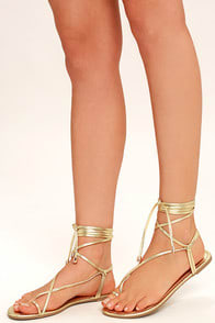 MICAH LIGHT GOLD LACE-UP FLAT SANDALS at Lulus.com!